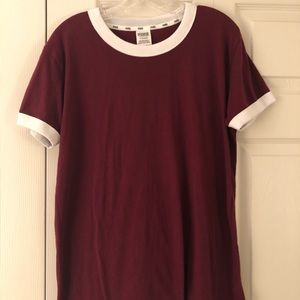 Victoria's Secret Pink Maroon Tee with White Trim